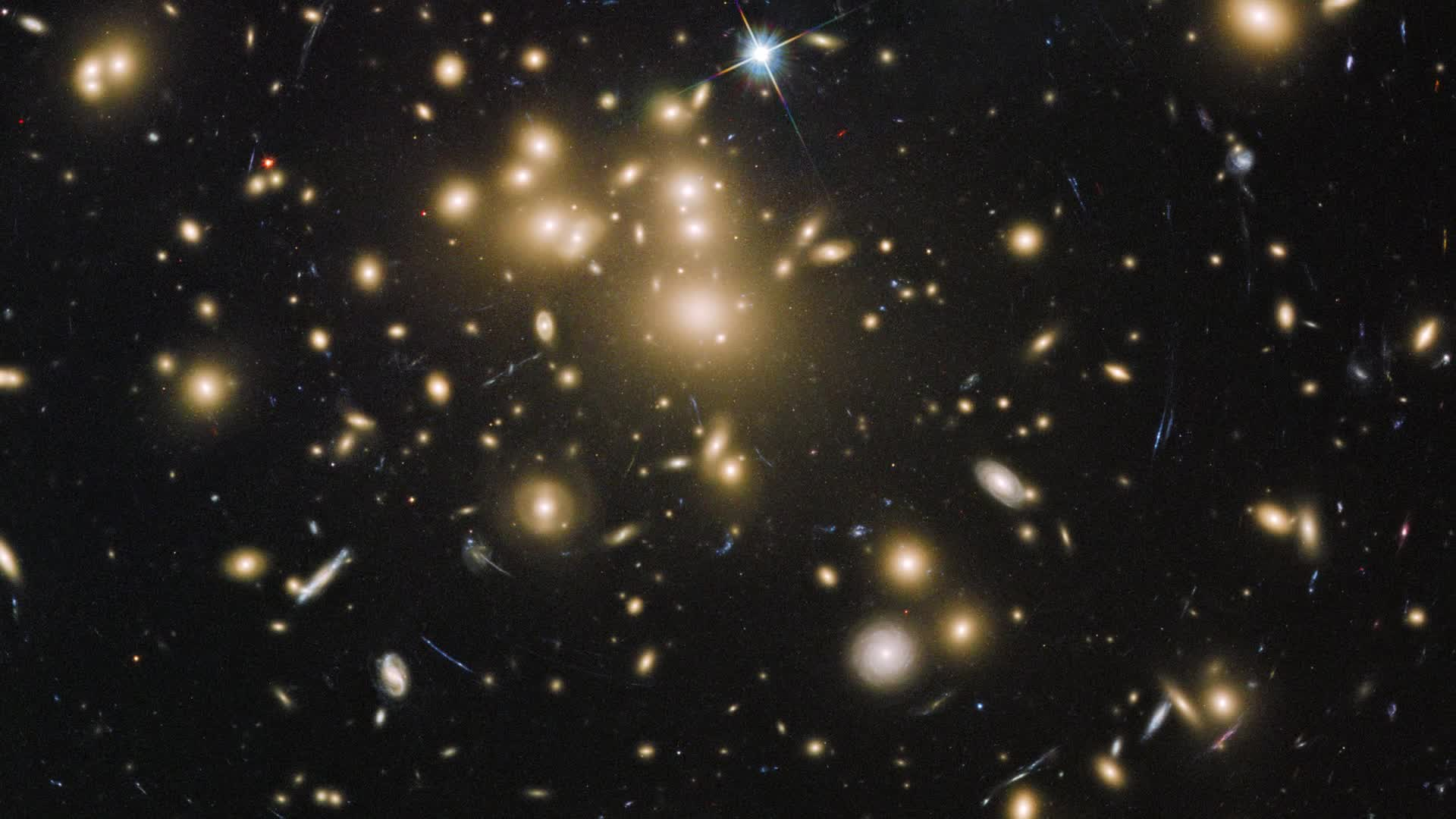 Watch free video Pan across galaxy cluster Abell 1689