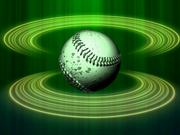 Watch free video Spinning Baseball Green Halos Close Up