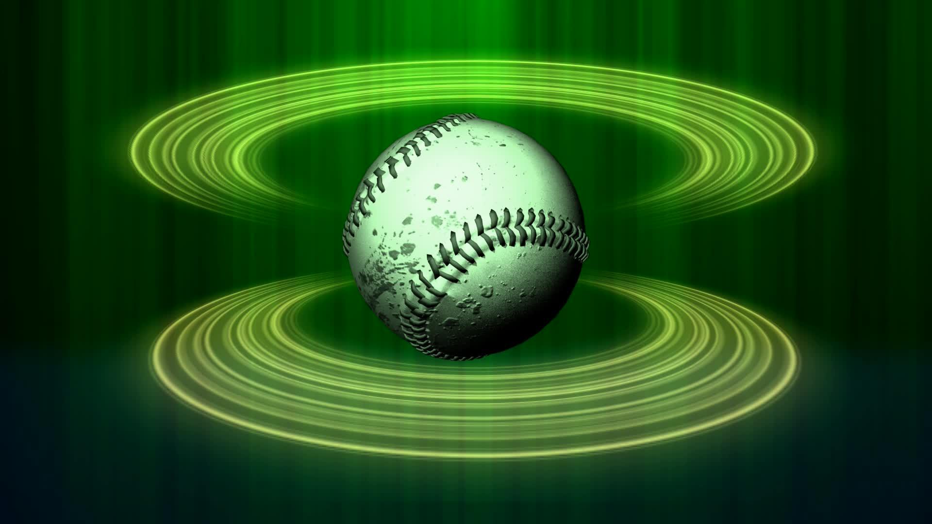 Mira dibujos animados gratis Spinning Baseball Green Halos Close Up