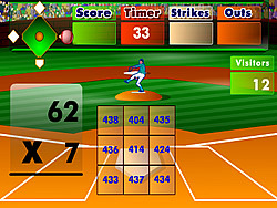 Batter's Up Baseball (Multiplication) game