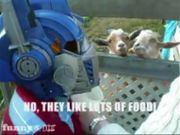 Dexter Feeds The Goats as Optimus Prime