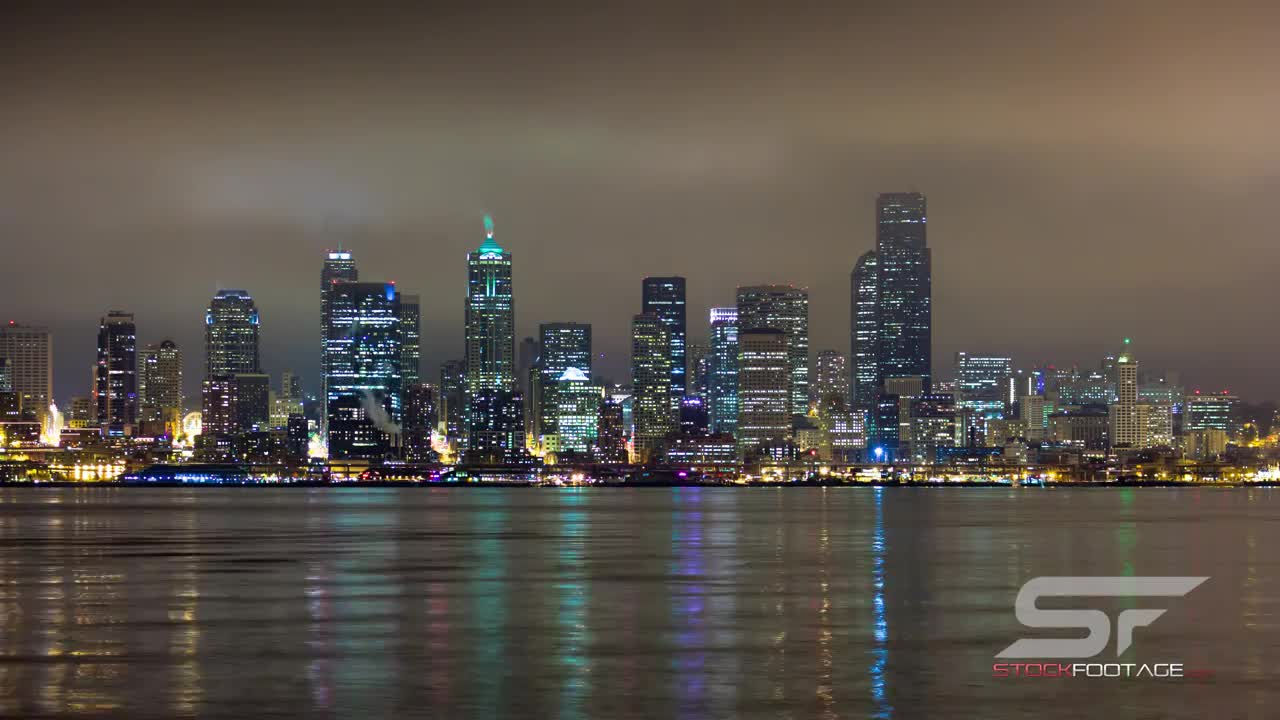 Watch free video Time Lapse Reflection of Seattle in Ultra HD