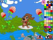 Surfing Doggie Online Coloring Page