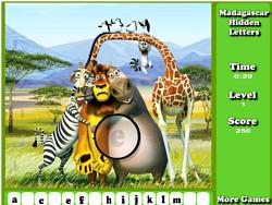 Juega al juego gratis Madagascar Hidden Letters