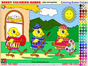 Juega al juego gratis Coloring Easter Chicks - Rossy Coloring Games