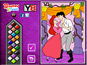 Princess Ariel  and Eric Online coloring game