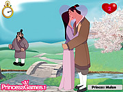 無料ゲームのPrincess Mulan Kissing Princeをプレイ