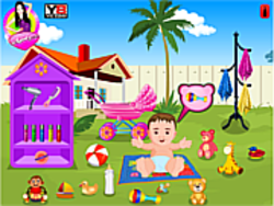Cute Baby Bath in the Garden game