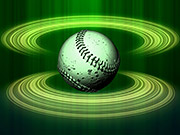 Mira dibujos animados gratis Spinning Baseball Green Halos Close Up