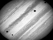 Watch free video Time-lapse of Jupiter's three moon transit