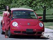 Mira dibujos animados gratis Woman in red dress walking and posing