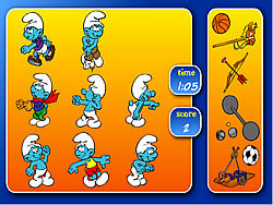 Smurfs Sports Pairs game