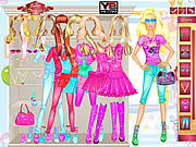 Play Barbie room dress up Game