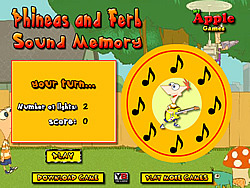 Phineas and Ferb Sound Memory game
