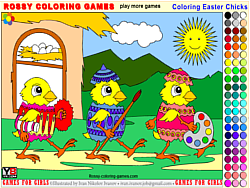 Coloring Easter Chicks - Rossy Coloring Games game