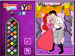 Princess Ariel  and Eric Online coloring game