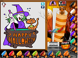 Halloween Witch Coloring Page game