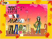 Play Autumn post card dress up Game